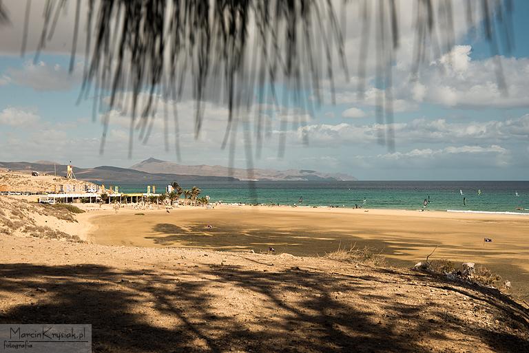 pla¿a, góry, ocean, Costa Calma, Fuerteventura