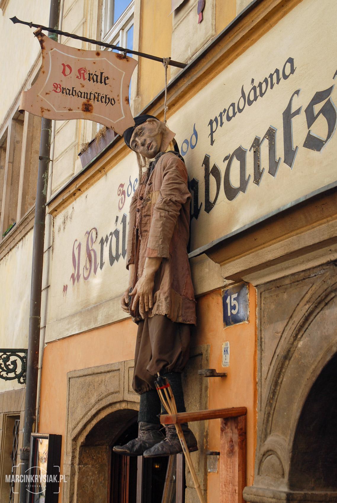 sklep, witryna, wisielec, miasto, stolica, Praga, Czechy
