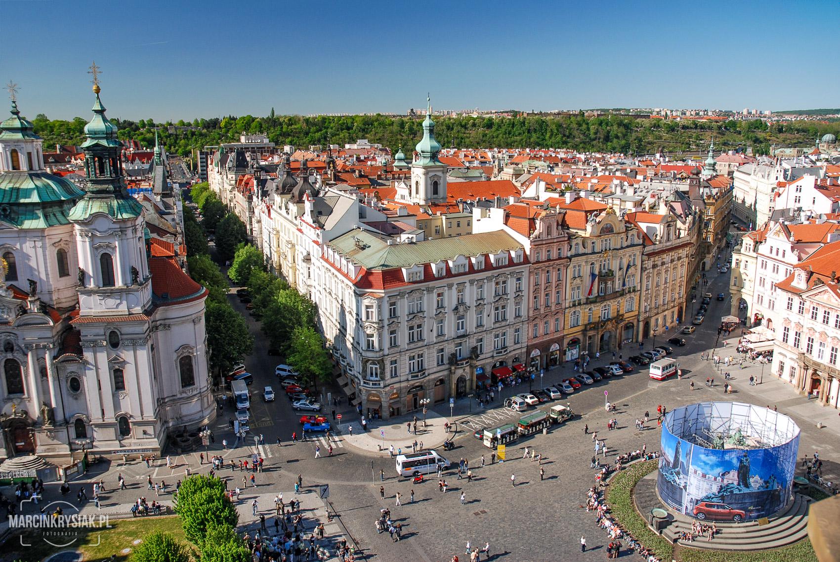 Panorama, miasto, starówka, Praga, stolica, Czechy