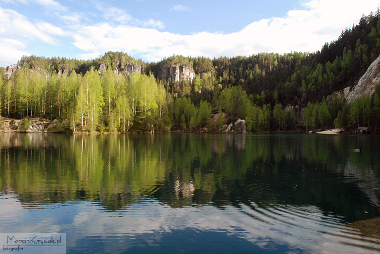 jezioro, drzewa, odbicie, skalne, miasto, Adrspach, Czechy